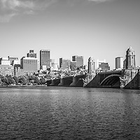 Boston Skyline black and white photo with the Longfellow Bridge along the Charles River. Boston Massachusetts is a major city in the Eastern United States of America.