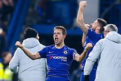 Cesar Azpilicueta of Chelsea celebrates his side's win over Tottenham Hotspur to reach the Final of the Carabao Cup - Mandatory by-line: Robbie Stephenson/JMP - 24/01/2019 - FOOTBALL - Stamford Bridge - London, England - Chelsea v Tottenham Hotspur - Carabao Cup