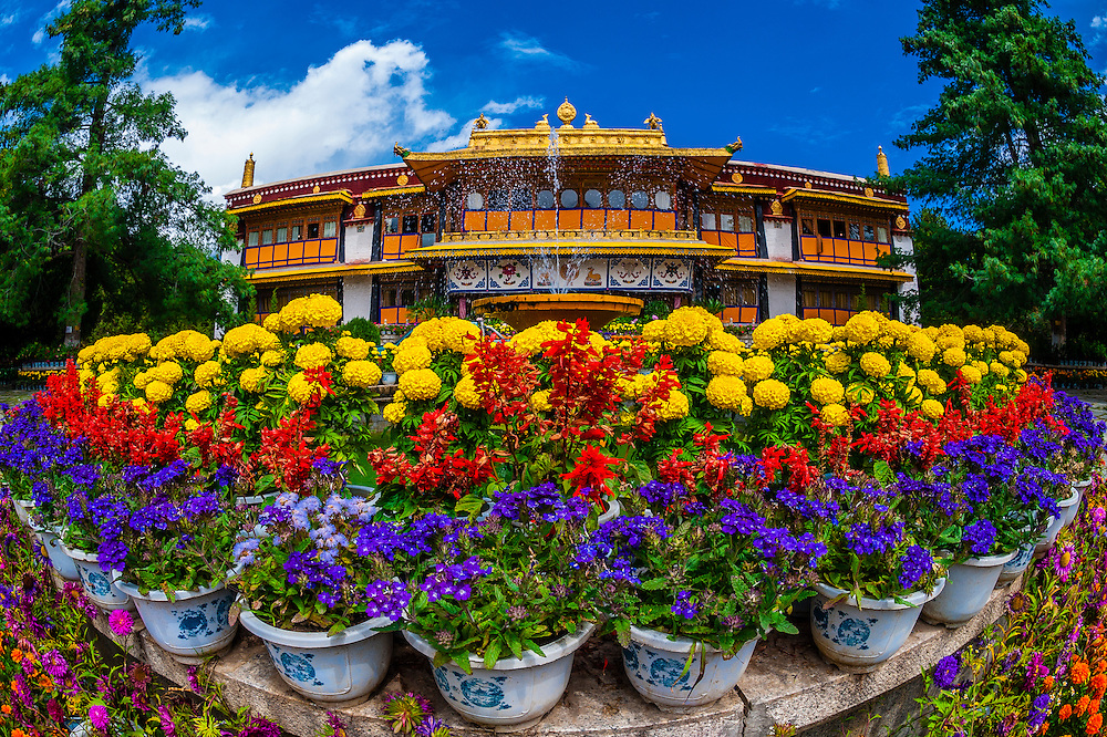 Norbulingka Palace, Lhasa, Tibet (Xizang, China). The palace served as the traditional summer residence of the successive Dalai Lamas from the 1780s up until the 14th Dalai Lama's exile in 1959.