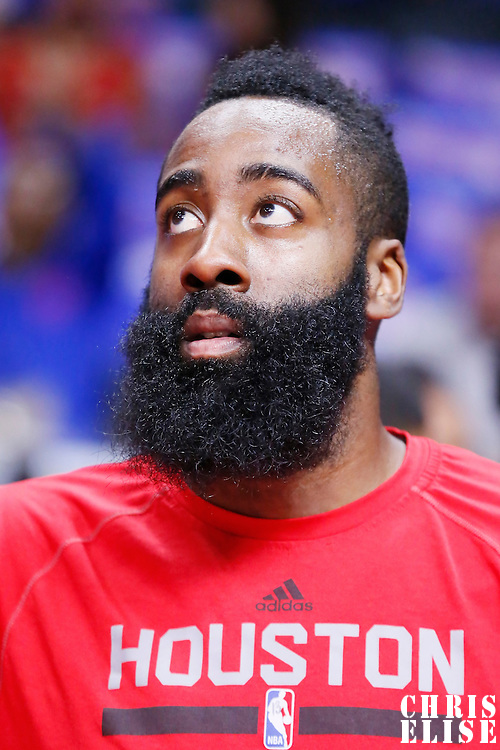 14 May 2015: Houston Rockets guard James Harden (13) warms up prior to the Houston Rockets 119-107 victory over the Los Angeles Clippers, in game 6 of the Western Conference semifinals, at the Staples Center, Los Angeles, California, USA.
