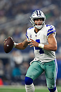 ARLINGTON, TX - OCTOBER 14:  Dak Prescott #4 of the Dallas Cowboys throws a pass during a game against the Jacksonville Jaguars at AT&T Stadium on October 14, 2018 in Arlington, Texas.  The Cowboys defeated the Jaguars 40-7.  (Photo by Wesley Hitt/Getty Images) *** Local Caption *** Dak Prescott