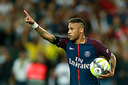 Paris Saint-Germain's Brazilian forward Neymar Jr celebrates after scoring during the French championship L1 football match between Paris Saint-Germain (PSG) and Toulouse, on August 20, 2017, at the Parc des Princes, in Paris, France - Photo Benjamin Cremel / ProSportsImages / DPPI