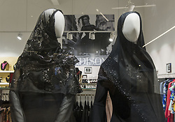 March 27, 2019 - Christchurch, Canterbury, New Zealand - A woman's boutique clothing shop displays two mannequins in the window dressed in black with headscarves to show support for the Muslim community following a terrorist attack at two city mosques on 15 March that left 50 people dead. (Credit Image: © PJ Heller/ZUMA Wire)