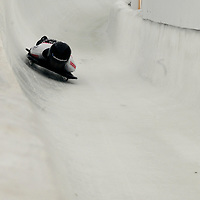 27 February 2007:  Tionette Stoddard of New Zealand slides through curve 13 in the 4th run at the Women's Skeleton World Championships competition on February 27 at the Olympic Sports Complex in Lake Placid, NY.