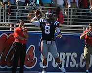 Ole Miss quarterback Jeremiah Masoli (8) passes at Vaught-Hemingway Stadium in Oxford, Miss. on Saturday, October 2, 2010. Ole Miss won 42-35 to improve to 3-2..