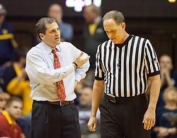 Feb 22, 2016; Morgantown, WV, USA; Iowa State Cyclones head coach Steve Prohm speaks with an official during the first half against the West Virginia Mountaineers at the WVU Coliseum. Mandatory Credit: Ben Queen-USA TODAY Sports