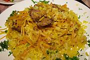 Uzbekistan, Bukhara. Plof at Minzifa Restaurant.
