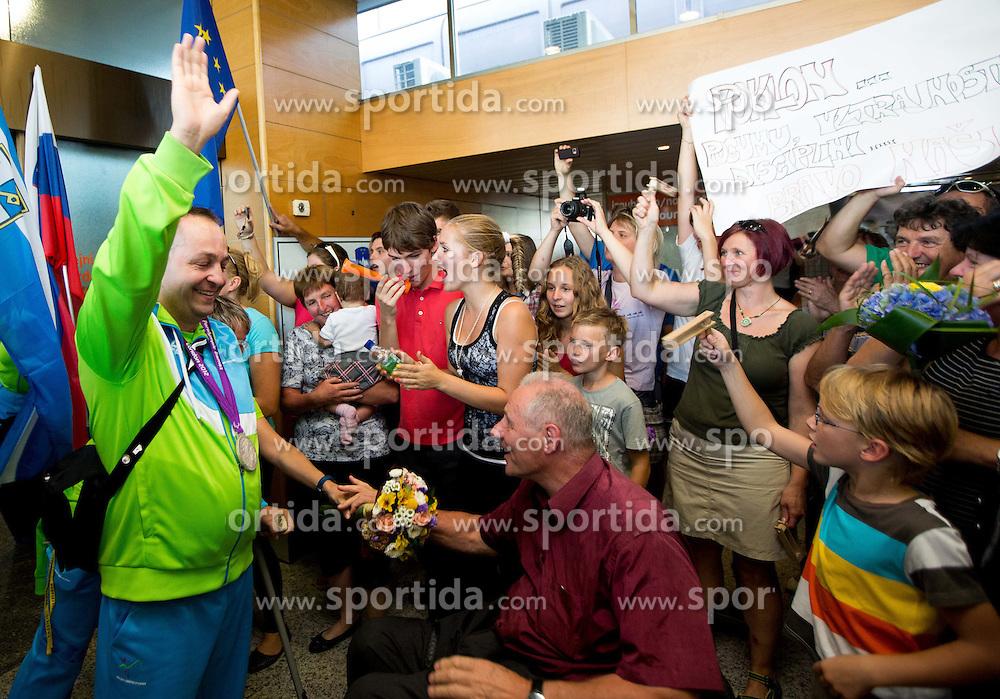 Francek Gorazd Tirsek of Team Slovenia and Joze Okoren at arrival to Airport Joze Pucnik after the London 2012 Paralympic Games on September 10, 2012, in Brnik, Slovenia. (Photo by Vid Ponikvar / Sportida.com)