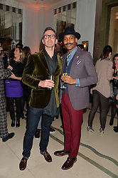 Left to right, Stylist TOM STUBBS and Timberland's menswear designer SHAUN GORDON at a reception hosted by Wei Koh founder of The Rake Magazine and Thomas Kochs General Manager of Claridge's to celebrate London Collections: Man 2014 at Claridge's, Brook Street, London on 5th January 2014.