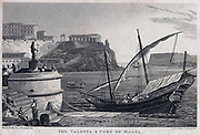 Port of Valetta, Malta. Engraving, 1815.