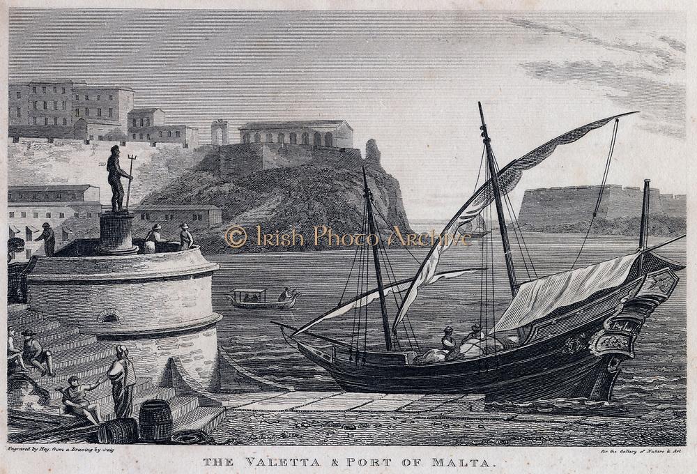 Port of Valetta, Malta. Engraving, 1815.