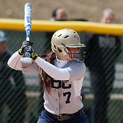Goldey-Beacom catcher Alivia Schoff (7) at bat in the third inning of game #1 of NCAA Central Atlantic Collegiate Conference (doubleheader) against Post University Saturday, March 30, 2013, at Nancy Churchmann Sawin Athletic Field in Wilmington Delaware.
