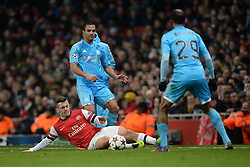 26.11.2013, The Emirates Stadium, London, ENG, UEFA CL, FC Arsenal vs Olympique Marseille, Gruppe F, im Bild Arsenal's Jack Wilshere slides on the floor to intercept, pass // Arsenal's Jack Wilshere slides on the floor to intercept, pass during UEFA Champions League group F match between FC Arsenal and Olympique Marseille at the The Emirates Stadium in London, Great Britain on 2013/11/26. EXPA Pictures © 2013, PhotoCredit: EXPA/ Mitchell Gunn<br /> <br /> *****ATTENTION - OUT of GBR*****