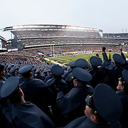 December 08, 2012:   The cadets of West Point cheer during the game between The Navy Midshipmen and The Army  Black Knights for the 113 edition of the Army-Navy game at Lincoln Financial Field in Philadelphia, PA.  (Credit Image: © Kostas Lymperopoulos/Cal Sport Media)