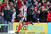 Lincoln City forward Ollie Palmer (8) and celebrates scoring but it was disallowed during the EFL Sky Bet League 2 match between Lincoln City and Exeter City at Sincil Bank, Lincoln, United Kingdom on 30 March 2018. Picture by Mick Atkins.