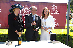 Left to right, SARAH DEAVES, UK Chief Executive, Coutts, trainer LUCA CUMANI and his daughter and FRANCESCA CUMANI at the 4th day of the Glorious Goodwood racing festival 2007 held at Goodwood Racecourse, West Sussex on 3rd August 2007.<br />
