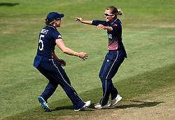 Alex Hartley of England Women celebrates with Heather Knight of England Women after taking the wicket of Meg Lanning of Australia Women - Mandatory by-line: Robbie Stephenson/JMP - 09/07/2017 - CRICKET - Bristol County Ground - Bristol, United Kingdom - England v Australia - ICC Women's World Cup match 19