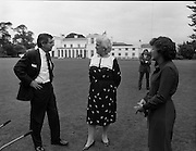 1983-07-05.5th July 1983.05-07-1983.07-05-83..Photographed at US Embassy Residence, Dublin..Standing Around:..Barbara Bush, wife of US Vice President George Bush, chatting with guests in US Embassy Residence grounds.