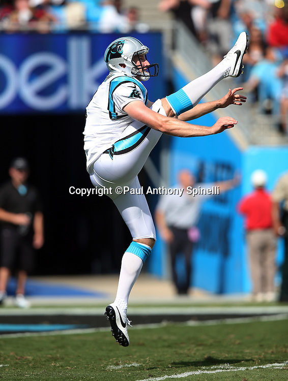 Carolina Panthers punter Brad Nortman (8) punts during the 2015 NFL week 2 regular season football game against the Houston Texans on Sunday, Sept. 20, 2015 in Charlotte, N.C. The Panthers won the game 24-17. (©Paul Anthony Spinelli)