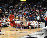 """Ole Miss' Nick Williams (20) vs. Illinois State's Tyler Brown (1) in a National Invitational Tournament game at the C.M. """"Tad"""" Smith Coliseum in Oxford, Miss. on Wednesday, March 14, 2012. (AP Photo/Oxford Eagle, Bruce Newman)"""