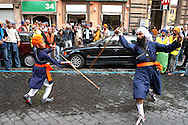 "Rome April 30 2006  .Piazza Vittorio  .Sikh ""Punj Pyare"" (Five Beloved Ones) lead a religious parade.The parade is for Visaki, a traditional Sikh celebration..The traditional Sikh martial art"