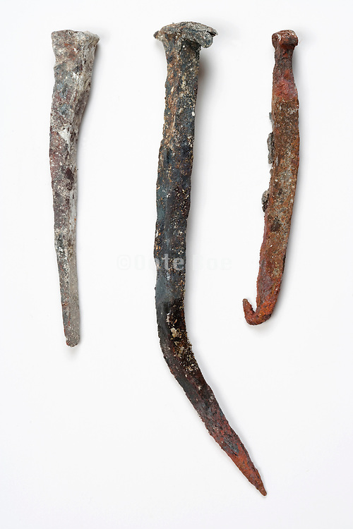 various old style corroded nails