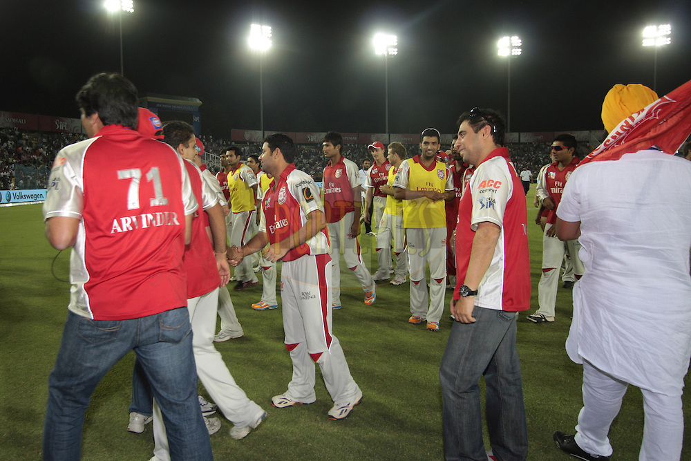 Celebration during match 9 of the Indian Premier League ( IPL ) Season 4 between the Kings XI Punjab and the Chennai Super Kings held at the PCA stadium in Mohali, Chandigarh, India on the 13th April 2011..Photo by Anil Dayal/BCCI/SPORTZPICS