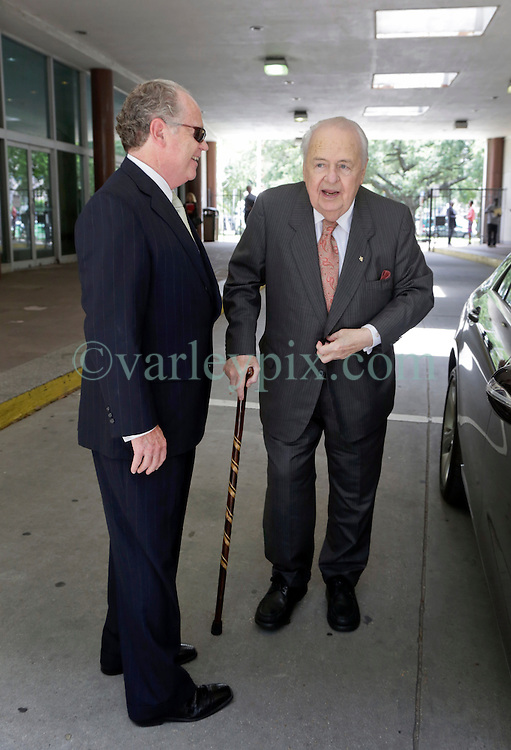 11 June  2015. New Orleans, Louisiana. <br /> Tom Benson (with cane), billionaire owner of the NFL New Orleans Saints, the NBA New Orleans Pelicans, various auto dealerships, banks, property assets and a slew of business interests arrives at New Orleans Civil District Court where he is attending a hearing to determine Benson's level of competency to manage his business empire. Benson changed his succession plans and  decided to leave the bulk of his estate to third wife Gayle, sparking a controversial fight over control of the Benson business empire.<br /> Photo&copy;; Charlie Varley/varleypix.com