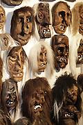 Die fratzenartigen, furchterregenden Masken sind das Markenzeichen des Lötschentals, weltweit bekannt als Souvenir-masken liegt der hölzernen TSCHAEGGAETTA -Maske ein jahrhundertealter Fasnachstbrauch zugrunde.  © Romano P. Riedo