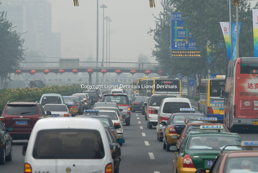 Pollution on the ring road in Beijing, China. Pollution on the Beijing ring road.