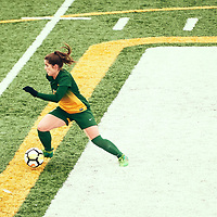 4th year forward, Sydney Langen (13) of the Regina Cougars during the Women's Soccer home game on Sun Sep 23 at U of R Field. Credit: Arthur Ward/Arthur Images