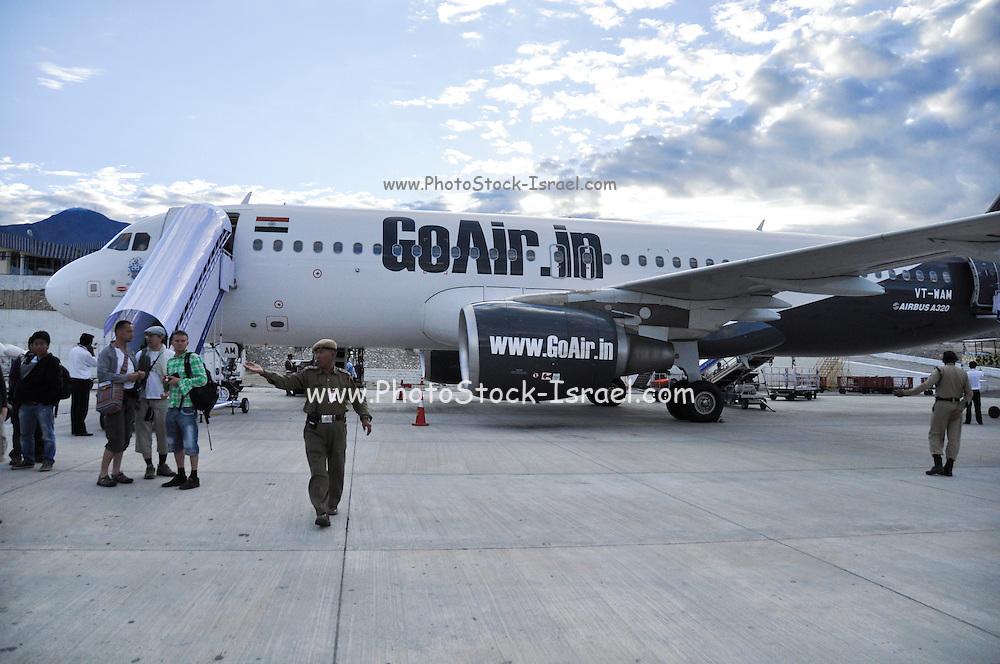 Go Air India Airbus 320 at the Leh Airport India, Jammu and Kashmir, Ladakh