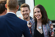 Opnamen van The Bold &amp; The Beautiful op de dam in Amsterdam. / On the set of The Bold &amp; The Beautiful at the dam in Amsterdam.<br /> <br /> Op de foto / On the photo:  Ashleigh Brewer , Scott Clifton and dutch actor Ferry Doedens