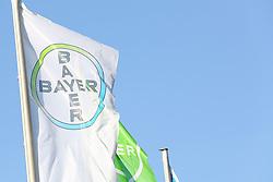 26.02.2015, Bayer-Kommunikationszentrum, Leverkusen, GER, Bilanzpressekonferenz Bayer AG, Ergebnisse des Geschäftsjahres 2014, im Bild Bayer Fahne im Wind // during a Annual Press Conference Bayer AG at the Bayer-Kommunikationszentrum in Leverkusen, Germany on 2015/02/26. EXPA Pictures © 2015, PhotoCredit: EXPA/ Eibner-Pressefoto/ Schueler<br /> <br /> *****ATTENTION - OUT of GER*****