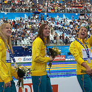 Australia's 4x 100 Medley Relay team winning Silver, celebrate from left, Jessicah Schipper, Sarah Katsoulis and Libby Trickett at the World Swimming Championships in Rome on Saturday, August 01, 2009. Photo Tim Clayton.