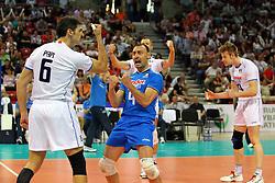 L'ITALIA ESULTA.ITALIA - SERBIA.PALLAVOLO TORNEO QUALIFICAZIONE OLIMPICA VOLLEY 2012.SOFIA (BULGARIA) 12-05-2012.FOTO GALBIATI - RUBIN