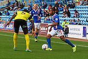 Derek Asamoah takes on Nyron Nosworthy during the Sky Bet League 2 match between Carlisle United and Dagenham and Redbridge at Brunton Park, Carlisle, England on 12 September 2015. Photo by Craig McAllister.