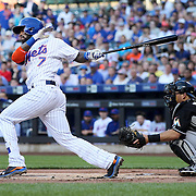 NEW YORK, NEW YORK - July 05:  Jose Reyes #7 of the New York Mets hits the ball foul during his first at bat during the Miami Marlins Vs New York Mets regular season MLB game at Citi Field on July 05, 2016 in New York City. (Photo by Tim Clayton/Corbis via Getty Images)