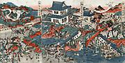 The 14th century Samurai Kusonki and his followers besieged in the castle Akasaka.  Shuntei Katsukawa (1770-c1833) Japanese artist. Print, 1809. Warfare Civil War
