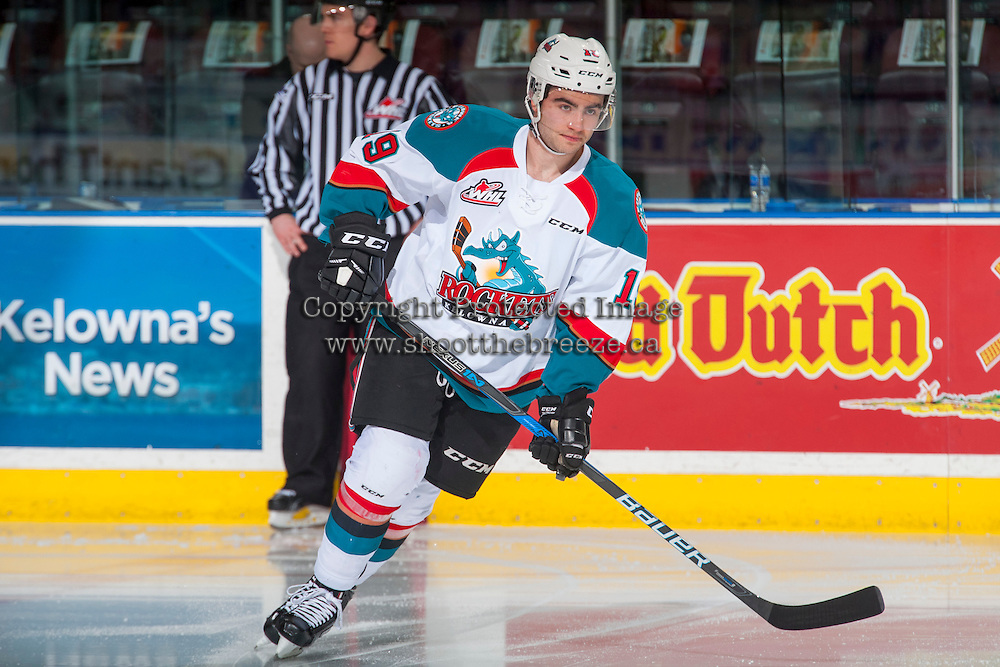 KELOWNA, CANADA - FEBRUARY 10: Dillon Dube #19 of the Kelowna Rockets warms up on the ice against the Vancouver Giants on February 10, 2017 at Prospera Place in Kelowna, British Columbia, Canada.  (Photo by Marissa Baecker/Shoot the Breeze)  *** Local Caption ***