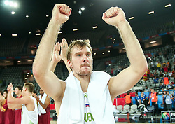 Zoran Dragic of Slovenia celebrates after winning during basketball match between Slovenia and Macedonia at Day 6 in Group C of FIBA Europe Eurobasket 2015, on September 10, 2015, in Arena Zagreb, Croatia. Photo by Vid Ponikvar / Sportida ###THIS IMAGE IS JUST FOR USE IN SLOVENIA!!! ###