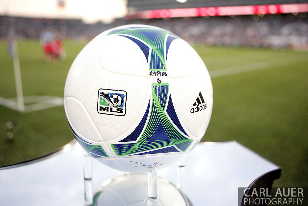 August 17th, 2013 - The game ball awaits for the start of action in the Major League Soccer match between the Vancouver Whitecaps FC and the Colorado Rapids at Dick's Sporting Goods Park in Commerce City, CO