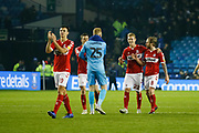 Middlesbrough players applaud the fans at full time during the EFL Sky Bet Championship match between Sheffield Wednesday and Middlesbrough at Hillsborough, Sheffield, England on 19 October 2018.