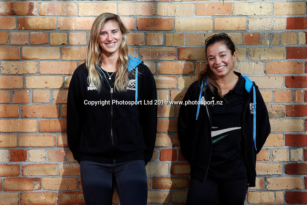 Alex Maloney (R) and Molly Meech, 49erFX sailors, New Zealand Yachting team pre-departure media session ahead of the Rio 2016 Olympic Games. Zhik shop, Victoria Park Markets, Auckland, 26 July 2016. Copyright Image: William Booth / www.photosport.nz