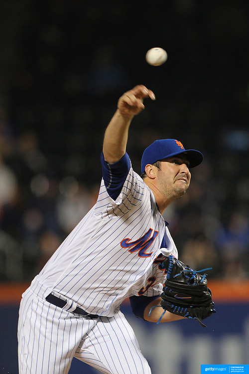 NEW YORK, NEW YORK - MAY 03:  Pitcher Matt Harvey #33 of the New York Mets pitching during the Atlanta Braves Vs New York Mets MLB regular season game at Citi Field on May 03, 2016 in New York City. (Photo by Tim Clayton/Corbis via Getty Images)