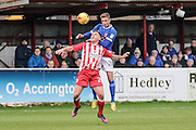 Accrington Stanley Billy Kee battle with Carlisle United Gary Liddle during the EFL Sky Bet League 2 match between Accrington Stanley and Carlisle United at the Fraser Eagle Stadium, Accrington, England on 21 January 2017. Photo by Pete Burns.