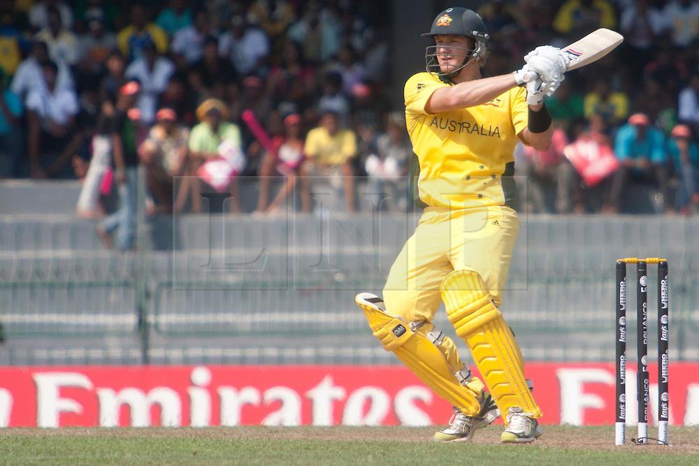 ©London News Pictures. 19/03/2011.Shane Watson pulls one away at R.Premadasa Stadium Colombo Sri Lanka