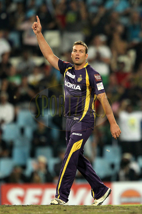 Jacques Kallis celebrates the wicket of Pawan Negi during match 2 of the Karbonn Smart CLT20 South Africa between The Kolkata Knight Riders and The Delhi Daredevils held at Supersport Park Stadium in Centurion, South Africa on the 13th October 2012..Photo by Ron Gaunt/SPORTZPICS/CLT20