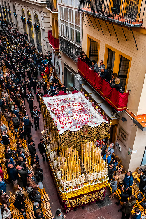 A paso (float) of the Virgin Mary in the procession of the Brotherhood (Hermandad) San Bernardo, Holy Week (Semana Santa), Seville, Andalusia, Spain.