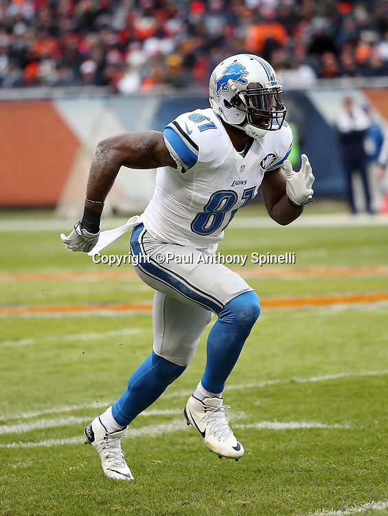 Detroit Lions wide receiver Calvin Johnson (81) goes out for a pass during the NFL week 17 regular season football game against the Chicago Bears on Sunday, Jan. 3, 2016 in Chicago. The Lions won the game 24-20. (©Paul Anthony Spinelli)